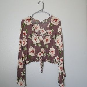 BP Nordstrom Womens Tie Front Blouse.